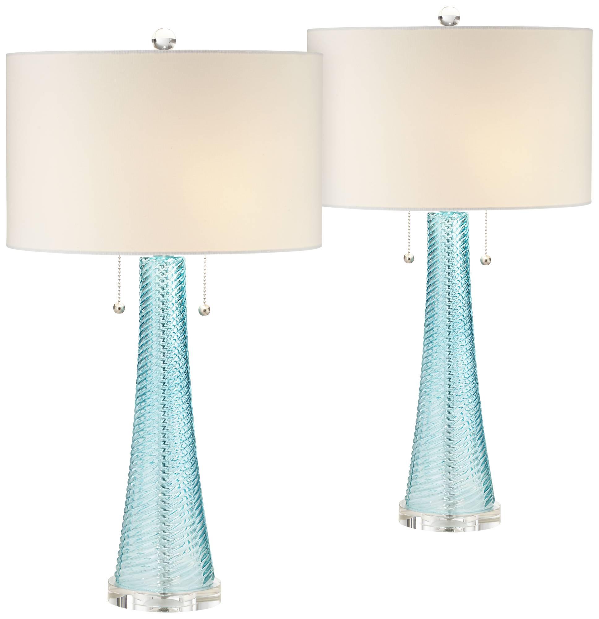 Possini Euro Design Miriam Blue Glass Table Lamp Set Of 2 Ebay