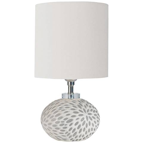 "Chrysanthemum 15 1/2"" High White Glass Accent Table Lamp"