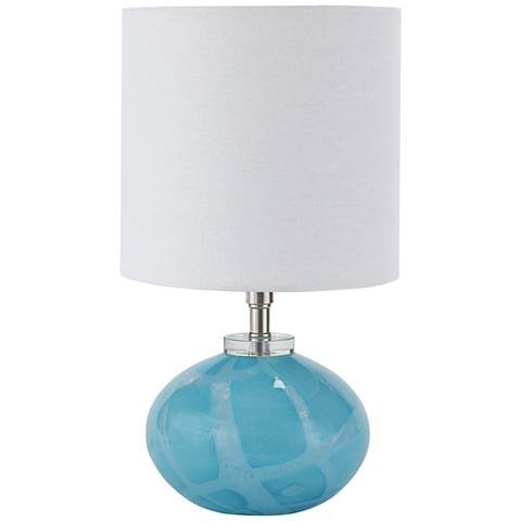 "Kai 15 1/4""H Sky Blue Art Glass Mini Orb Accent Table Lamp"