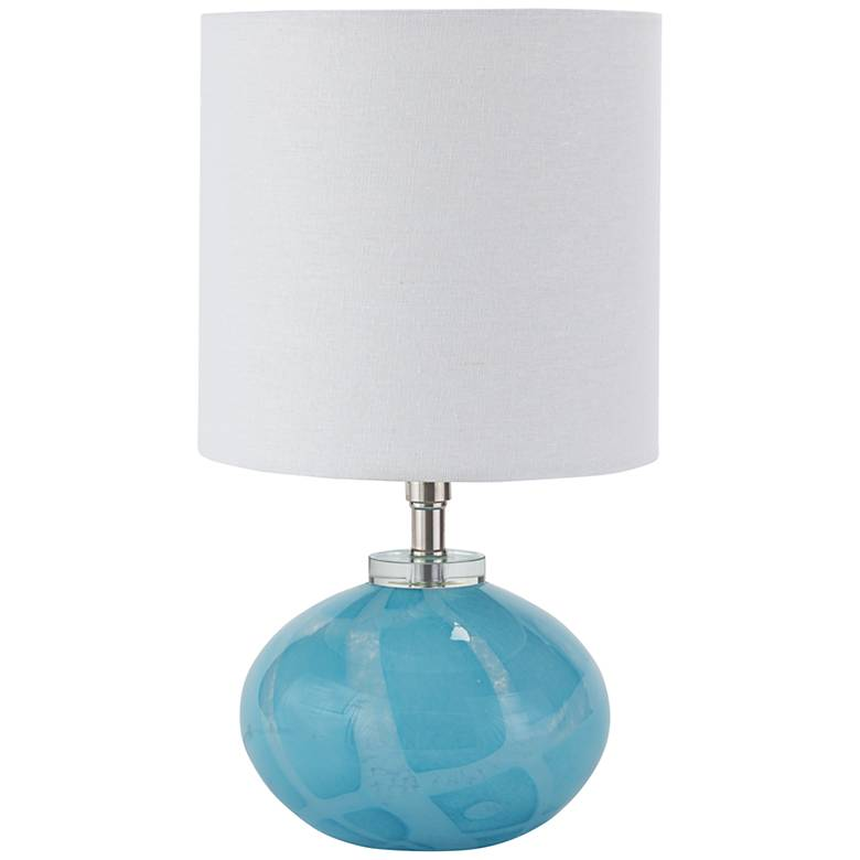 "Kai 15 1/4""H Sky Blue Art Glass Mini Orb Accent Table Lamp"