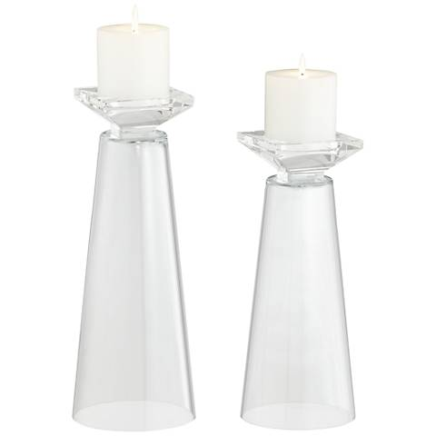Meghan Clear Glass Pillar Candle Holder Set of 2