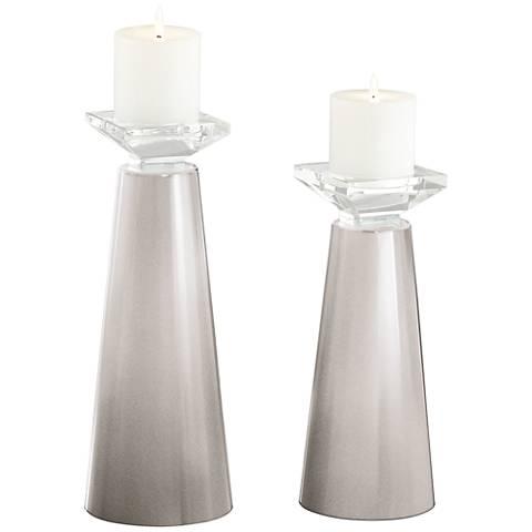 Meghan Silver Lining Metallic Candle Holder Set of 2