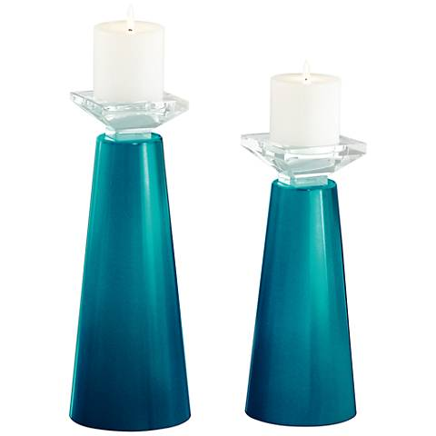 Meghan Turquoise Metallic Glass Candle Holder Set of 2