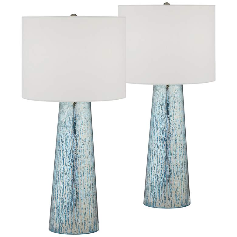 Marcus Tapered Column Mercury Glass Table Lamps - Set of 2