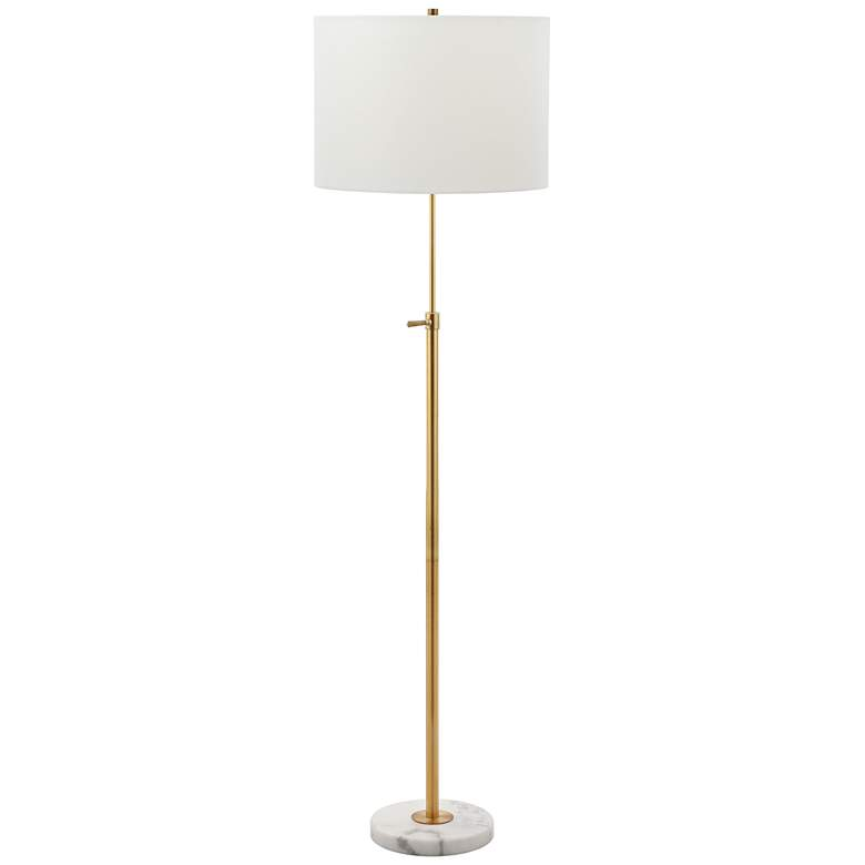 Meera Polished Brass and White Marble Adjustable Floor Lamp