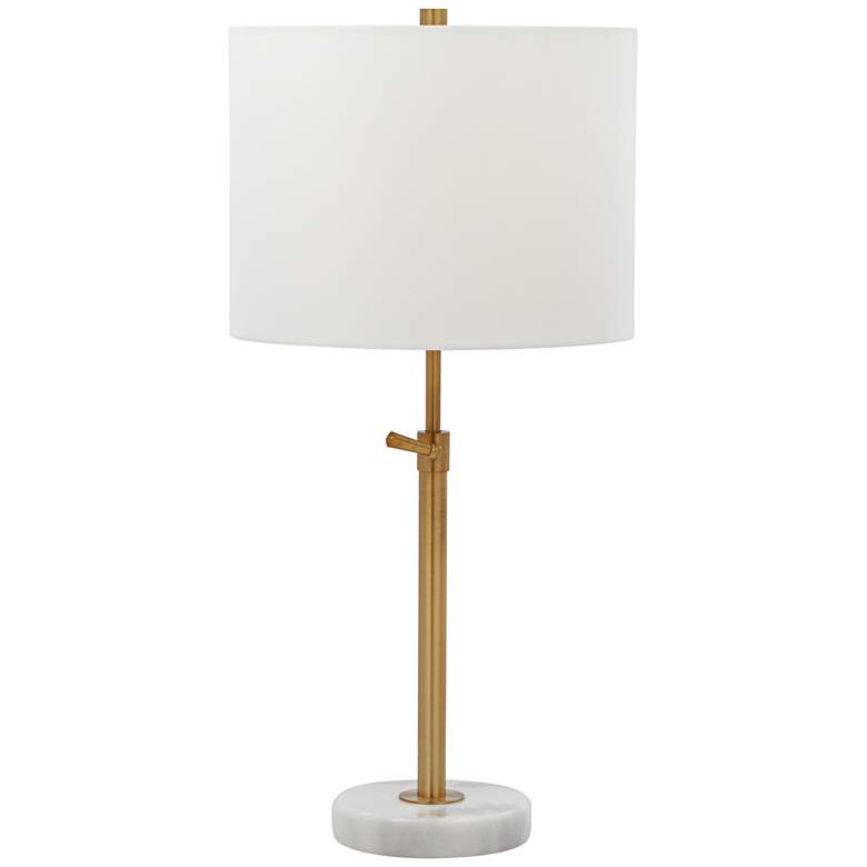 Meera Polished Brass and White Marble Adjustable Table Lamp