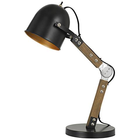 Binimi Matte Black and Wood Desk Lamp
