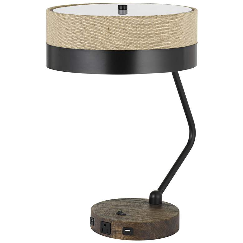 Parson Wood and Black Finish Outlet and USB Desk Lamp