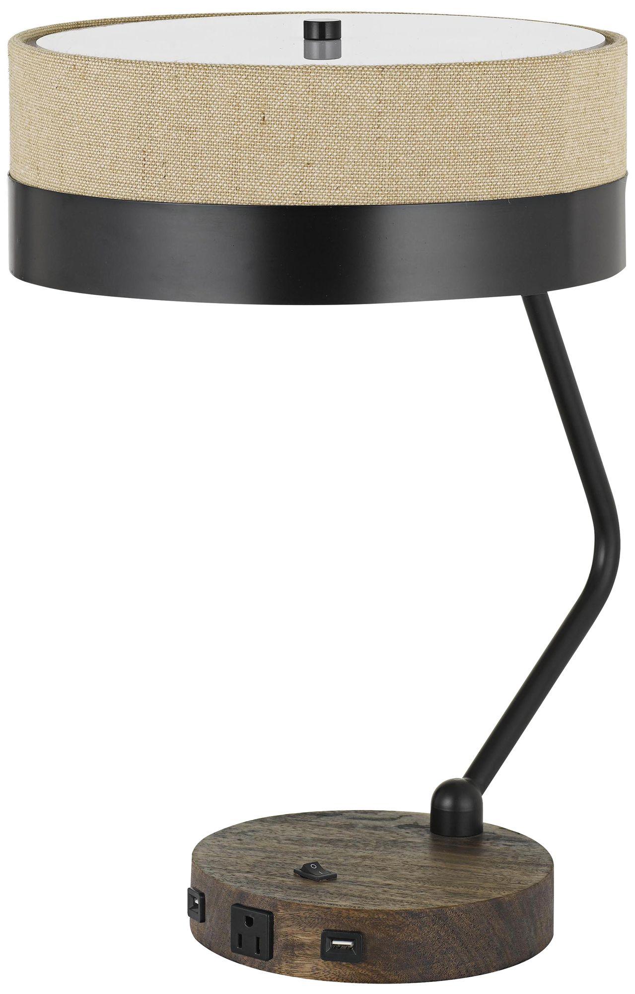 Parson Wood And Black Desk Lamp