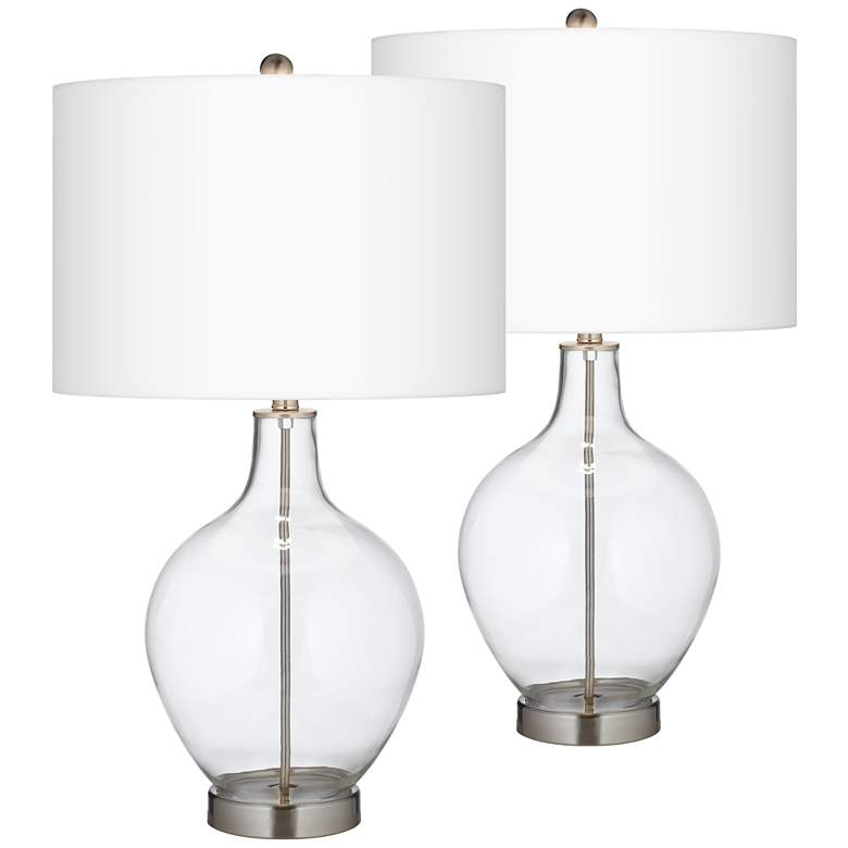 Ovo Clear Glass Fillable Table Lamps Set of 2