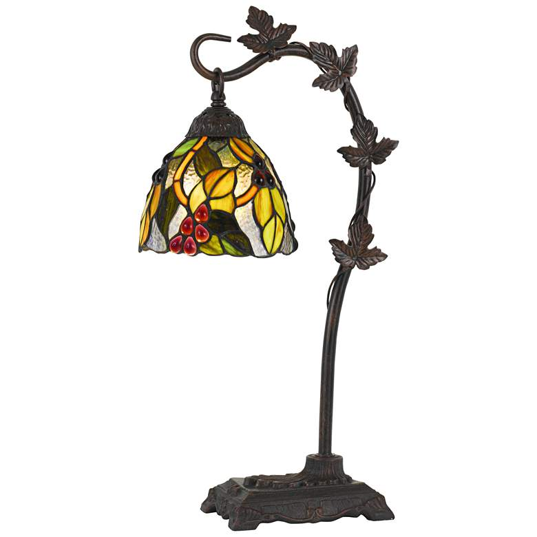 Cotulla Bronze Desk Lamp with Tiffany Glass Shade