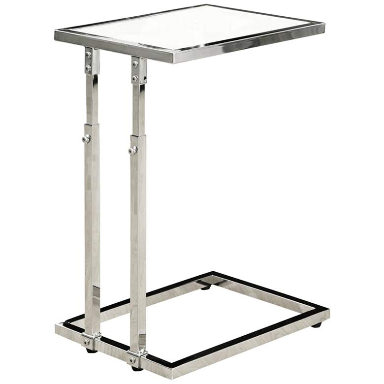 """Kass 15 3/4"""" Wide Chrome Adjustable Height Accent Table"""