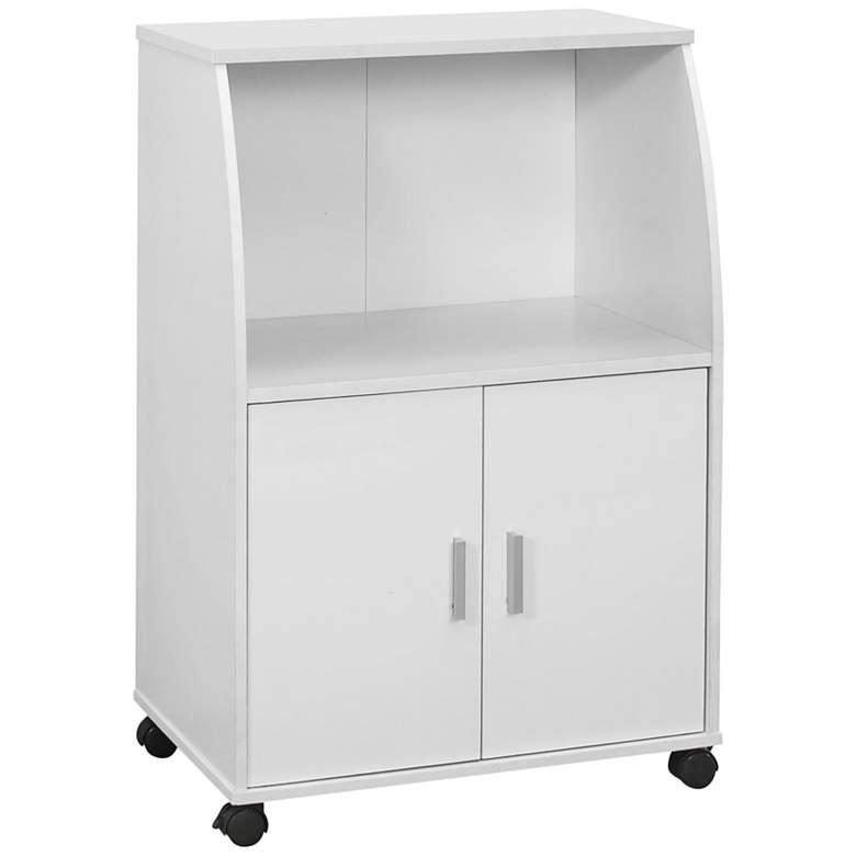 """Ellie 22"""" Wide White Finish 2-Door Kitchen Cart"""