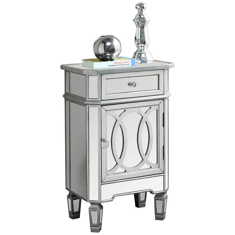 "Calysta 18 1/4"" Wide Silver and Mirrored 1-Door Accent Table"