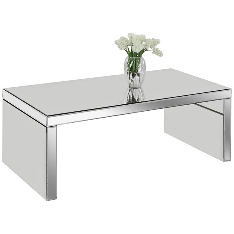 "Layla 48"" Wide Modern Mirrored Coffee Table"