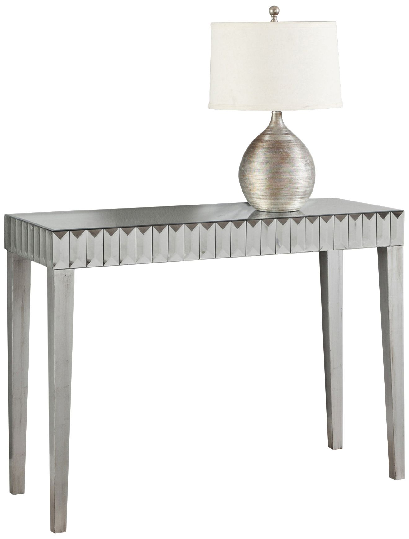 Emerald Brushed Silver And Mirrored Console Table