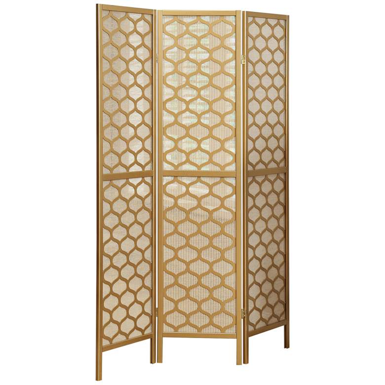 """Lilah 52"""" Wide Gold Lantern 3-Panel Folding Screen"""