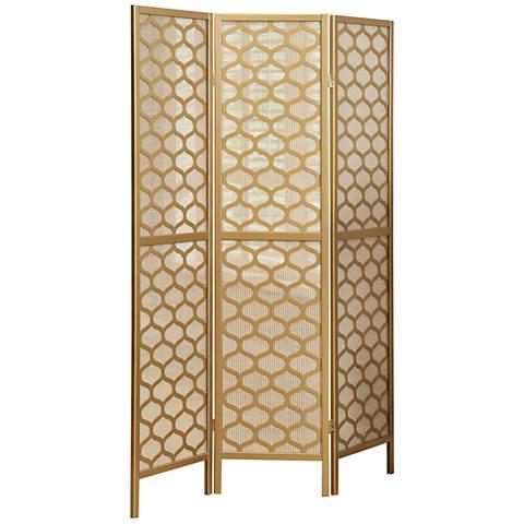Lilah Gold Lantern 3-Panel Folding Screen