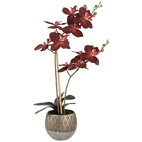 """Red Orchid 23"""" High Faux Flowers in Ceramic Pot"""