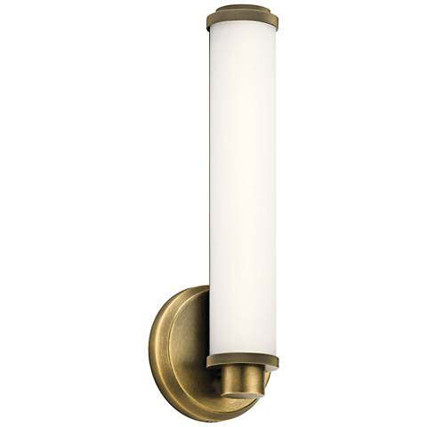 "Kichler Indeco 14 1/2"" High Natural Brass LED Wall Sconce"