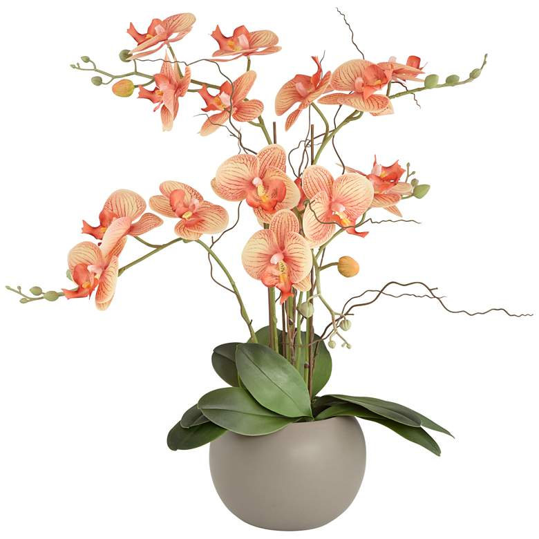 "Orange Orchid 22 1/2"" High Faux Floral in Gray Pot"