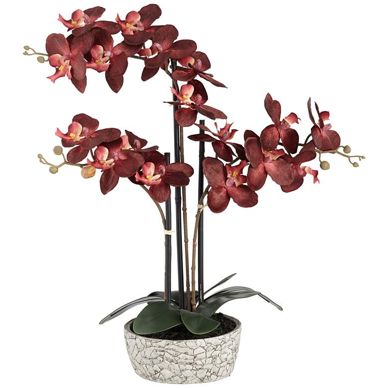 """Red Orchid 24"""" High Faux Flower in Gray Pot"""