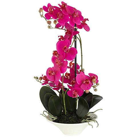"Pink Orchid 24"" High Faux Flowers in White Pot"