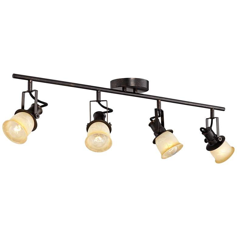 "Pro Track 34 1/8"" Wide Bronze Finish 4-Light Track Fixture"