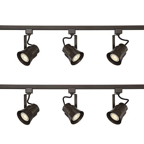 Two Pro Track Linear 3-Light Bronze LED Track Kits w/Connector