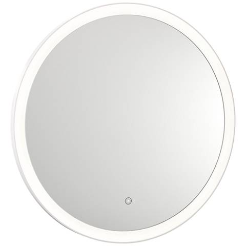"Grace Back-Lit Glass 31 1/2"" Round 3500K LED Wall Mirror"