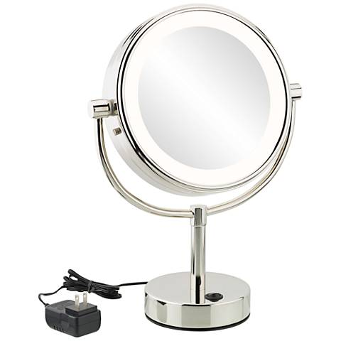 Neomodern Chrome Warm White LED Magnified Makeup Mirror
