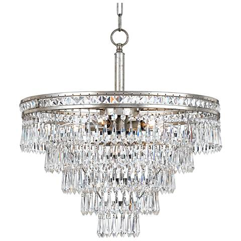 "Mercer 20""W Olde Silver and Crystal Convertible Chandelier"