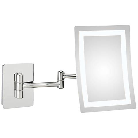 Wentz Chrome LED Rectangular Magnified Makeup Wall Mirror