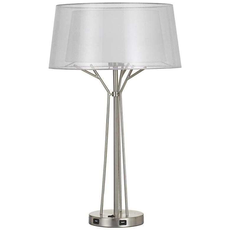 Lawton Brushed Steel Metal Table Lamp