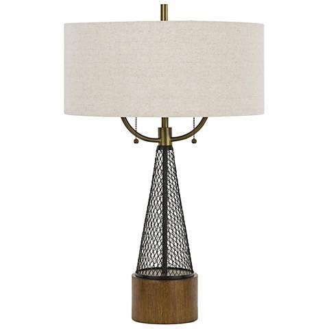Lapeer Dark Bronze and Wood Table Lamp