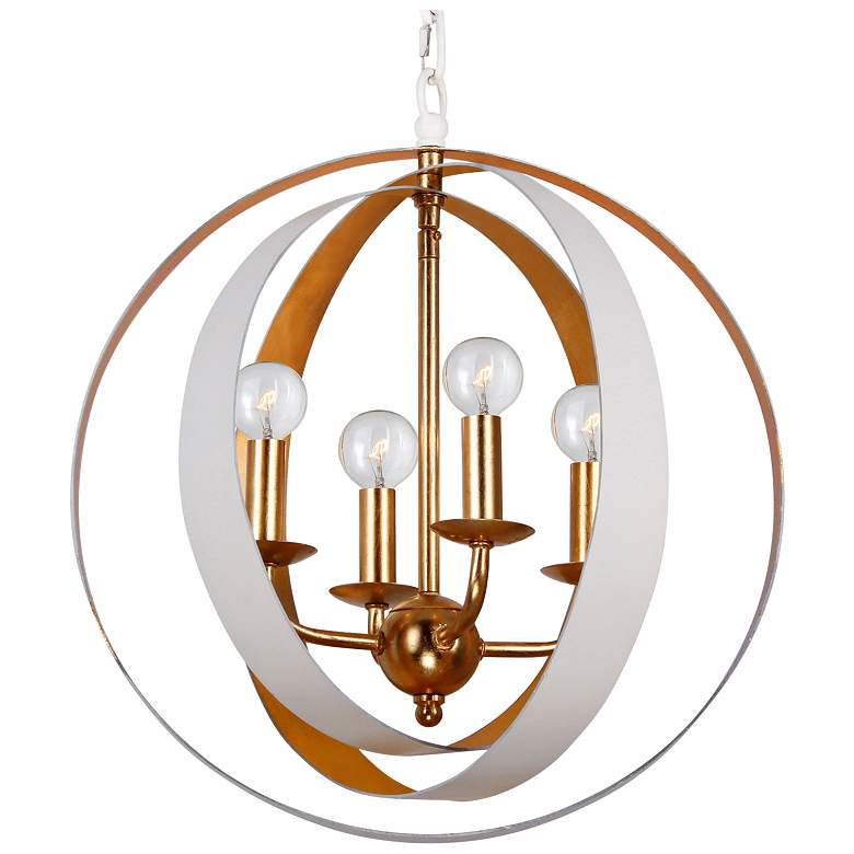 """Crystorama Luna 16"""" Wide White and Gold 4-Light Chandelier"""