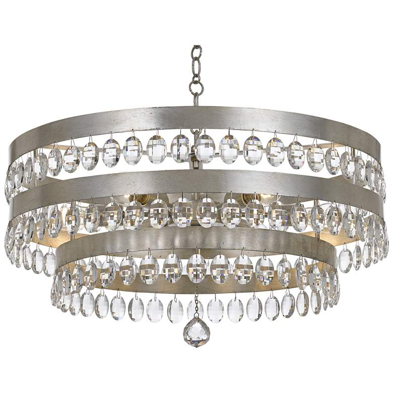 """Crystorama Perla 26""""W Antique Silver and Crystal Chandelier"""