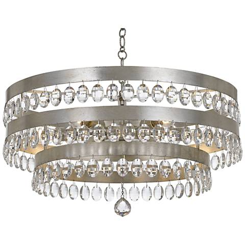 "Crystorama Perla 26""W Antique Silver and Crystal Chandelier"