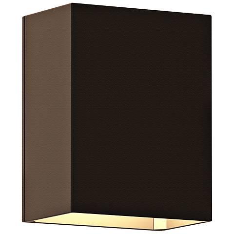 """Sonneman Box 4 1/2""""H Textured Bronze LED Outdoor Wall Light"""