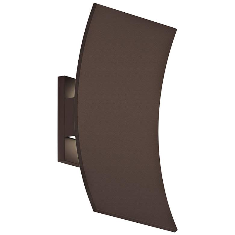 """Curved Shield 11""""H Textured Bronze LED Outdoor Wall"""