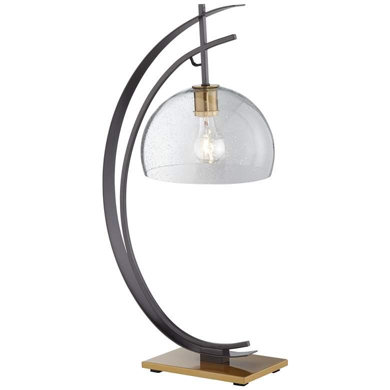 Kathy Ireland Glass Gunmetal Half Moon Table Lamp