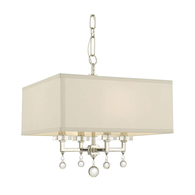 "Crystorama Paxton 16""W Polished Nickel 4-Light Chandelier"