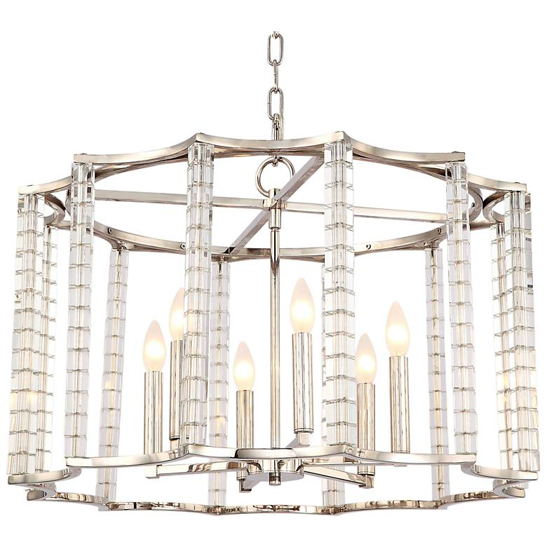 """Carson 28""""W Polished Nickel and Crystal 6-Light Chandelier"""