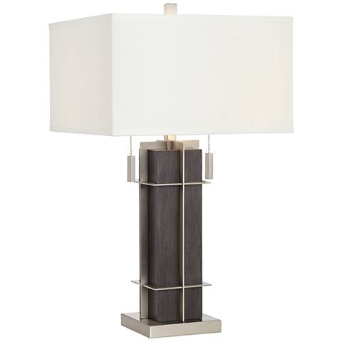 Acosta Wood and Metal 2-Light Table Lamp
