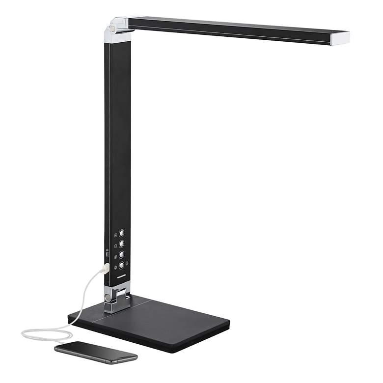 Jett LED Desk Lamp with USB Port and Night Light Black