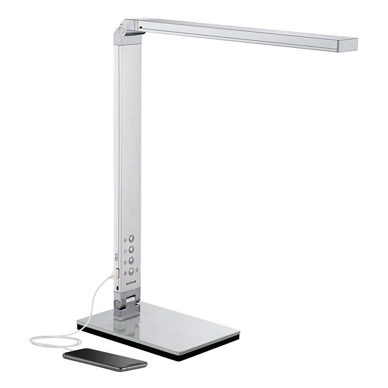 Jett LED Desk Lamp with USB Port and Night Light Silver