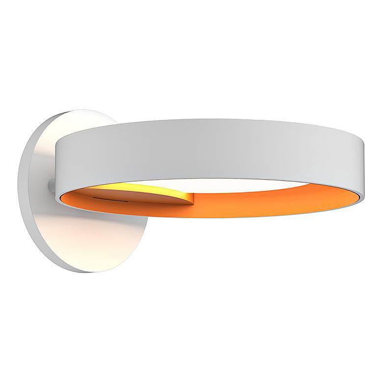 """Light Guide Ring 1 1/2""""H White and Apricot LED Wall Sconce"""
