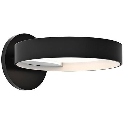 "Light Guide Ring 1 1/2"" High Black and White LED Wall Sconce"