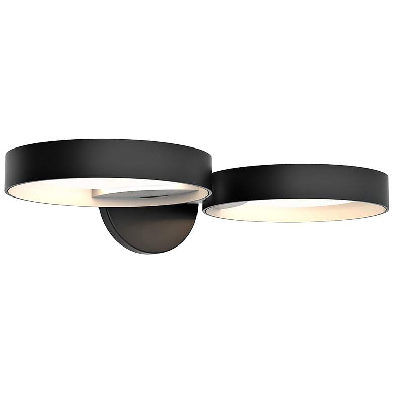 """Light Guide Ring 1 1/2""""H Black and White 2-LED Wall Sconce"""