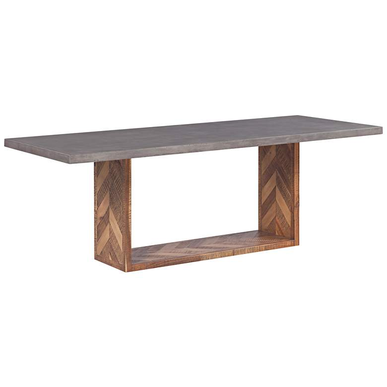Wyckoff Dark Gray and Brown Mixed Rectangular Dining Table